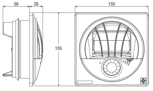 Technische Zeichnung des Aereco ABI 100 Abluftelement
